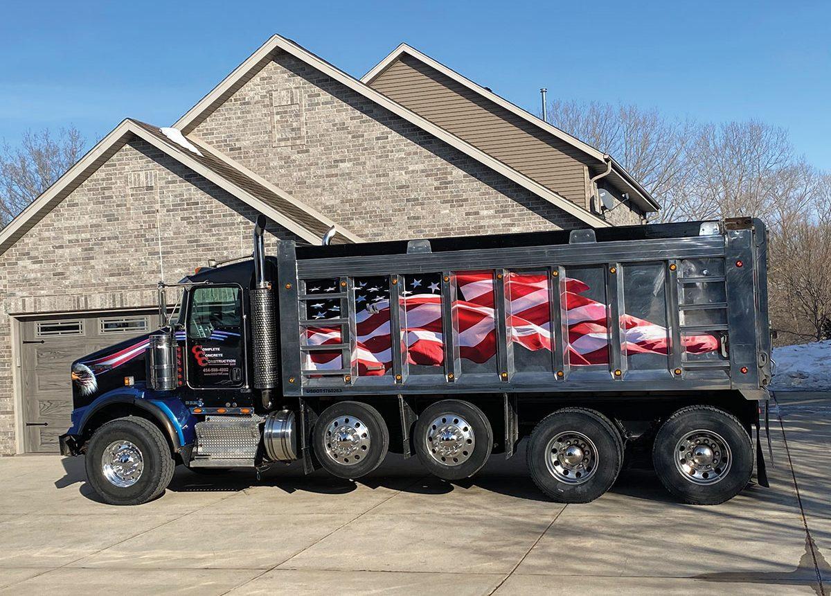 complete concrete construction dumptruck american flag fleet